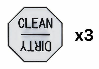 Fox Run Dishwasher Magnet Back Clean/Dirty Reminder Plastic Material (3-Pack)