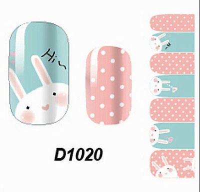 Cute Full Nail Wraps Stickers Art Decals Adhesive Rabbits Polish Foil Decor VST