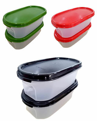 Tupperware Modular Mates Oval I 500ml Storage Container Black, Green or Red Lids