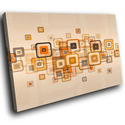 ZAB677 Retro Orange Brown Modern Canvas Abstract Home Wall Art Picture Prints