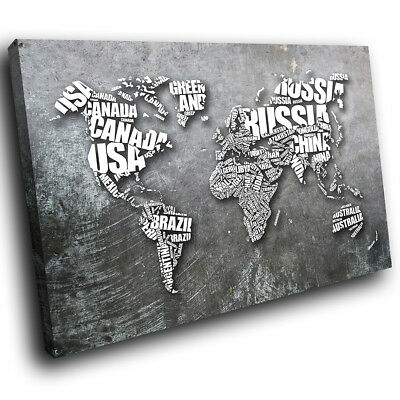 ZAB1322 Grey World Map Cool Modern Canvas Abstract Home Wall Art Picture Prints