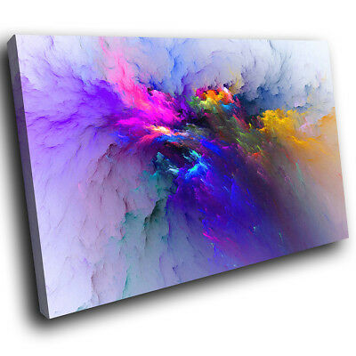 ZAB1485 Colourful Blue Cool Modern Canvas Abstract Home Wall Art Picture Prints