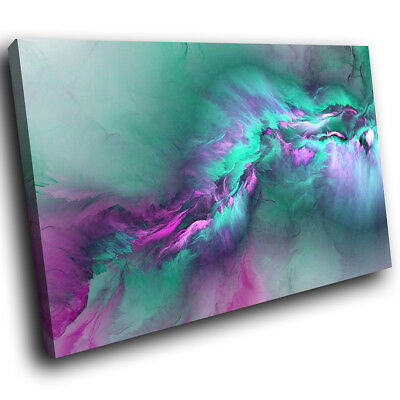 ZAB1495 Teal Pink Grey Funky Modern Canvas Abstract Wall Art Picture Prints