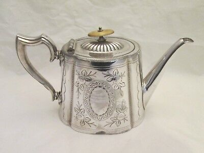 A Good 19th Century Silver Plated Tea Pot - Flowers - Engraved