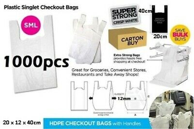 1000pcs Plastic Singlet Shopping Carry Checkout Bag Small 22cmx12cmx40cm White