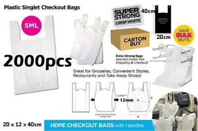 2000pcs Plastic Singlet Shopping Carry Checkout Bag Small 22cmx12cmx40cm White