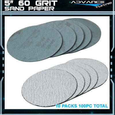 100PC 5Inch 127mm 60 Grit Auto Sanding Disc No Hole Sandpaper Sheets Sand Paper