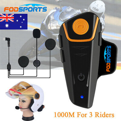 1000m Motorcycle Bluetooth Helmet Intercom Headsets Bicycle Interphone FM Radio