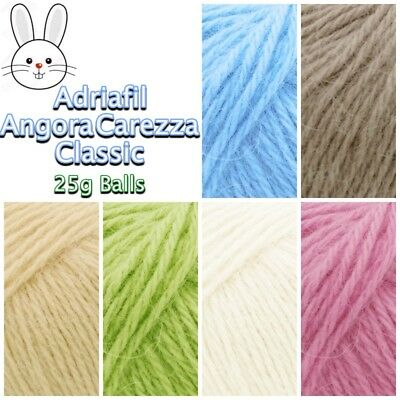 Adriafil Angora Carezza Classic Aran Rabbit Hair Soft Knitting Wool Yarn 25g