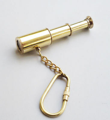 Shiny Brass Telescope Keyring Vintage Marine Keychain Collectible Item For Gift.
