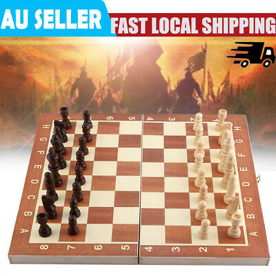 Durable Wooden Large Folding Chess Board & Chess Pieces Set Storage Box Case AU