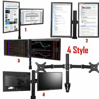 Dual Arm HD LED Desk Mount VESA Bracket Monitor Stand 2 Display Screen TV Holder