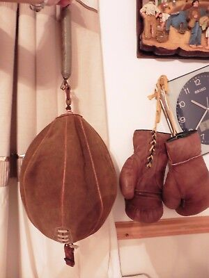 Original Vintage Tan Brown Leather Boxing Gloves, Suede Punch Ball Bag & Fitting