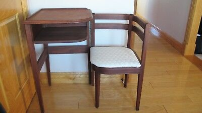 Vintage Gossip Bench Telephone Table / Chair / Desk Compact Table W Swing  Chair