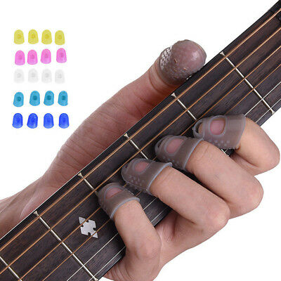 12Pcs Silicone Guitar Finger Guards Fingertip Thumb Pick Protector Plectrum Band
