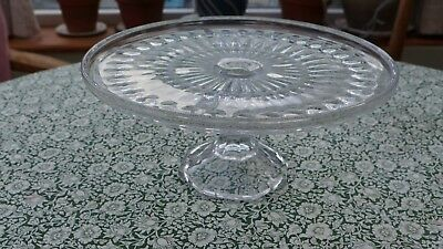 Vintage 24cm large Pressed Glass Cake Stand
