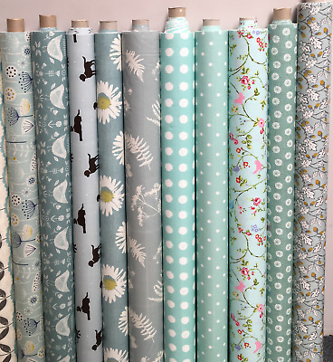 Duck Egg Blue Colour Oilcloth Wipeclean Tablecloth Many Deisgns Sample Available