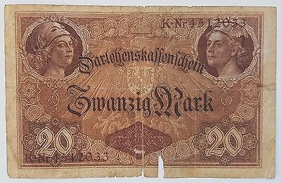Germany 20 Mark WWI Reich Imperial Empire Banknote 1914