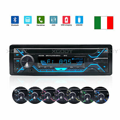 Autoradio Bluetooth 1Din Fm Stereo Lettore Mp3 Player Usb Sd Aux Radio 12V 4X60W