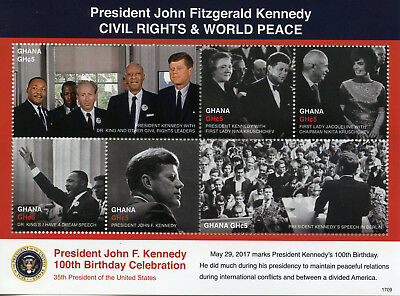Ghana 2017 MNH JFK John F Kennedy 100th 6v M/S II Martin Luther King Stamps