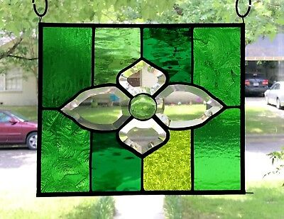 Stained Glass Window w/Victorian Bevel Center in Green Tones 10 x 12