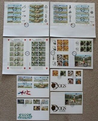 Isle Of Man 1996 Dogs  1997 Aviation Folklore Stories Legends  FDI FDC Cover x 8