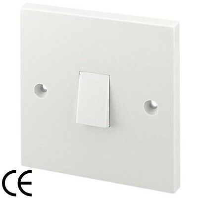 Light Switch White Plastic Single 1 Gang 1 Way Bevelled BS ASTA Approved 10 Amp