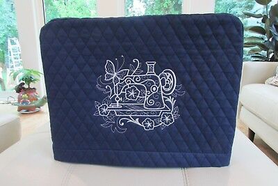 Embroidered Quilted Sewing Machine Cover - Navy Blue