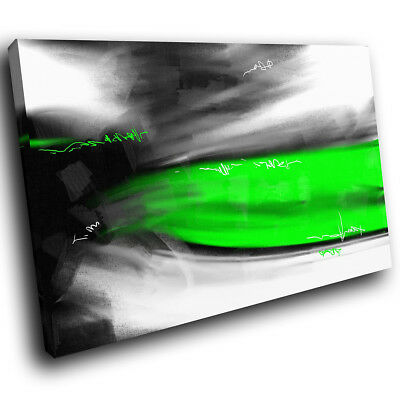 AB589 Green Black White Cool Modern Abstract Canvas Wall Art Large Picture Print