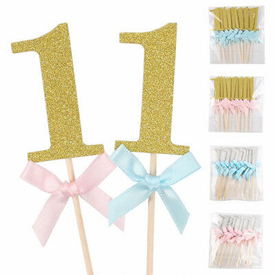 10X Glitter Number One Bow Cake Toppers Cupcake Picks Kids 1st First Birthday