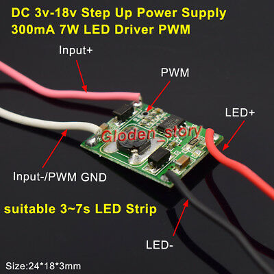 DC-DC Boost Step Up Converter Module 300mA 7W LED Driver PWM For 3S-7S LED Strip