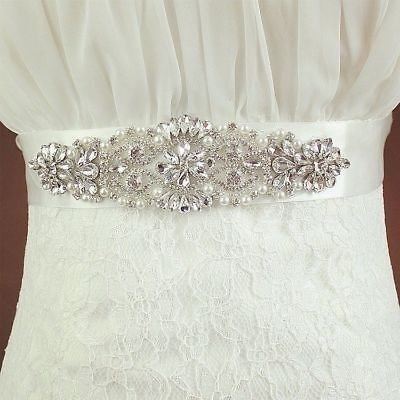 Bride Crystal Satin Ribbon Belt Wedding Gown Rhinestone Applique Sash Chic Decor