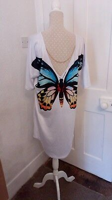 Ladies size 10 to 12 white long t-shirt sun dress with chain & butterfly back