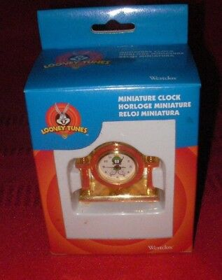 Looney Tunes Marvin The Martian Brass Miniature Westclox Clock 1996 NEW IN BOX