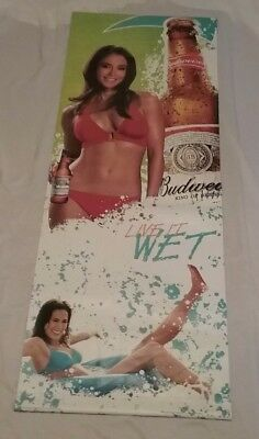 Budweiser Vinyl Live It Wet Banner Two Sided Bikini Girls  Banner 60 X 22