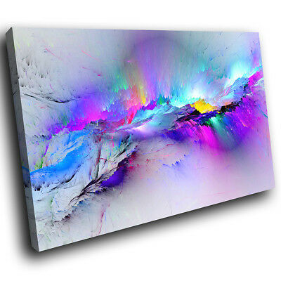 Blue Pink Multicoloured Modern Abstract Canvas Wall Art Large Picture Prints