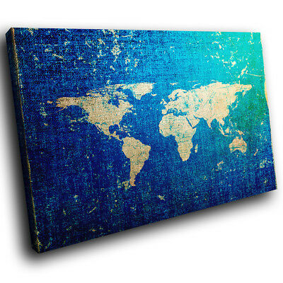 AB1040 Old Blue World Map Retro Abstract Canvas Wall Art Large Picture Prints