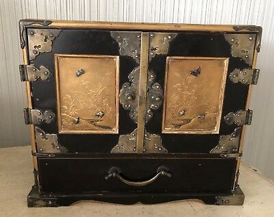 Antique Asian Lacquer Jewelry Box Chest Drawers Chinese? Silver & Gold Gilt