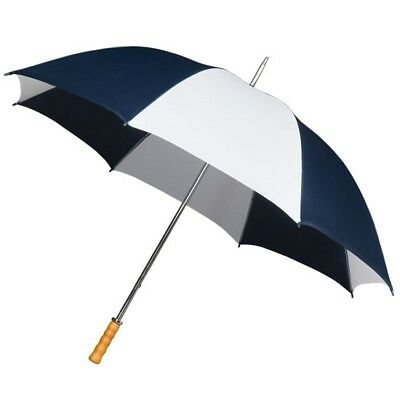 Big Golf Umbrella with Double Ribs & Wooden Handle in Navy Blue & White - 130cm