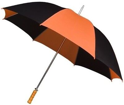 Golf Umbrella with Big Canopy in Black & Orange - Double Ribs and Wooden Handle