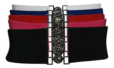 Ladies Fashion & Vintage Elasticated Stretch Cinch Belt One Size 5 Colours New