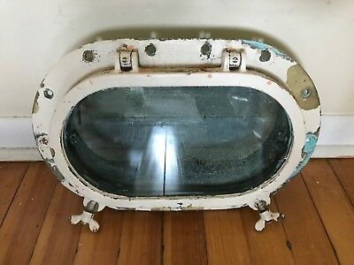 "VINTAGE 17"" MARINE NAUTICAL BRONZE SHIP OVAL PORTHOLE w/GLASS & SCREEN"