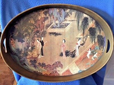Lacquer Oval Asian Style Tray VINTAGE Small crack does not go through