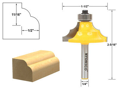 "1/2"" Double Round Over Edge Forming Router Bit - 1/4"" Shank - Yonico 13130q"
