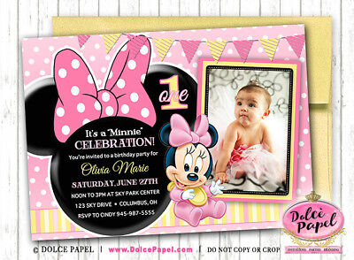 Invitations Announcements C17 MICKEY CLUBHOUSE BIRTHDAY PARTY INVITATION PHOTO Disney Minnie Mouse 1ST