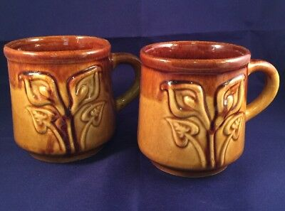 Vtg Hand Crafted Ceramic Coffee Tea Mugs-Set of 2-Calla Lilies -Brown-Md Mexico