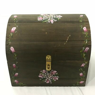 Vintage Wooden Wood Chest Box Folk Art Handmade Hand Painted Floral Small