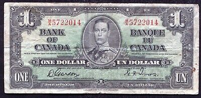 1937 $1 One Dollar Bank Of Canada Banknote Gordon/Towers