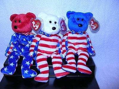 TY Beanie Babies, LIBERTY BEARS (Set of all 3 - Red, White & Blue heads) 8.5 in