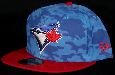 best service a92f8 87895 Toronto Blue Jays Red Camo 59Fifty New Era Fitted MLB Baseball Hat - Size 7  1